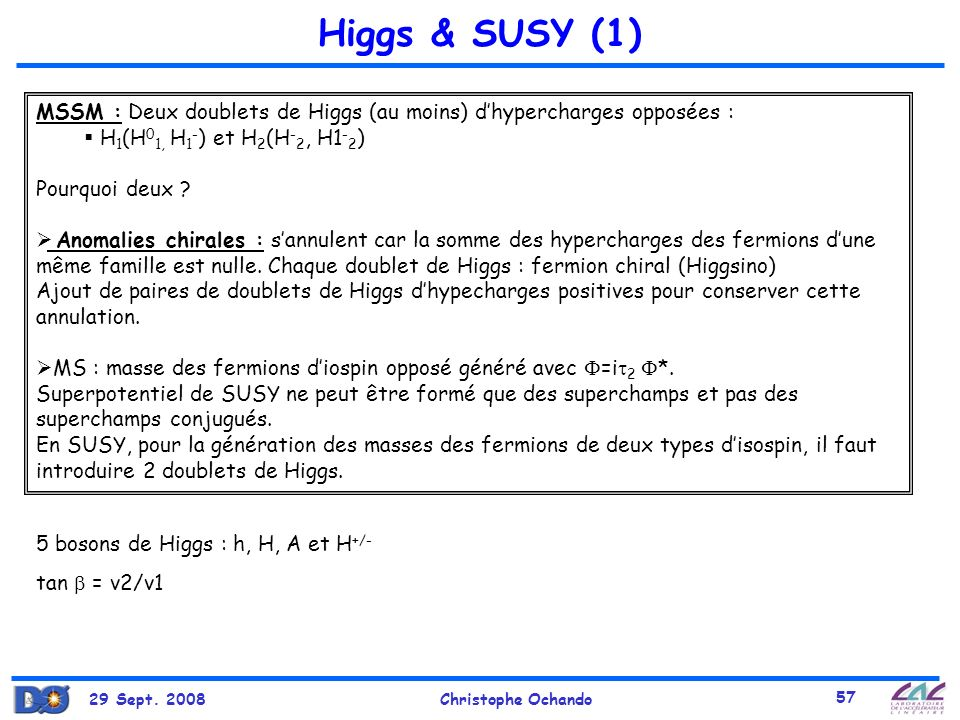 29 Sept. 2008Christophe Ochando 57 Higgs & SUSY (1) MSSM : Deux doublets de Higgs (au moins) dhypercharges opposées : H 1 (H 0 1, H 1 - ) et H 2 (H -