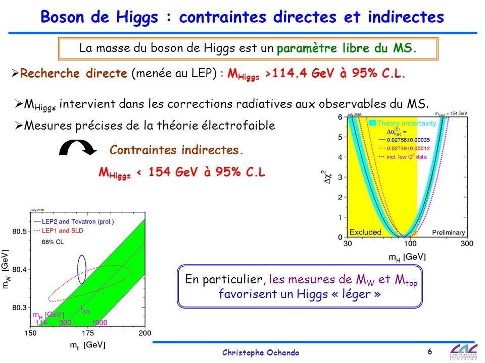 29 Sept. 2008Christophe Ochando 6 Boson de Higgs : contraintes directes et indirectes Recherche directe (menée au LEP) : M Higgs >114.4 GeV à 95% C.L.