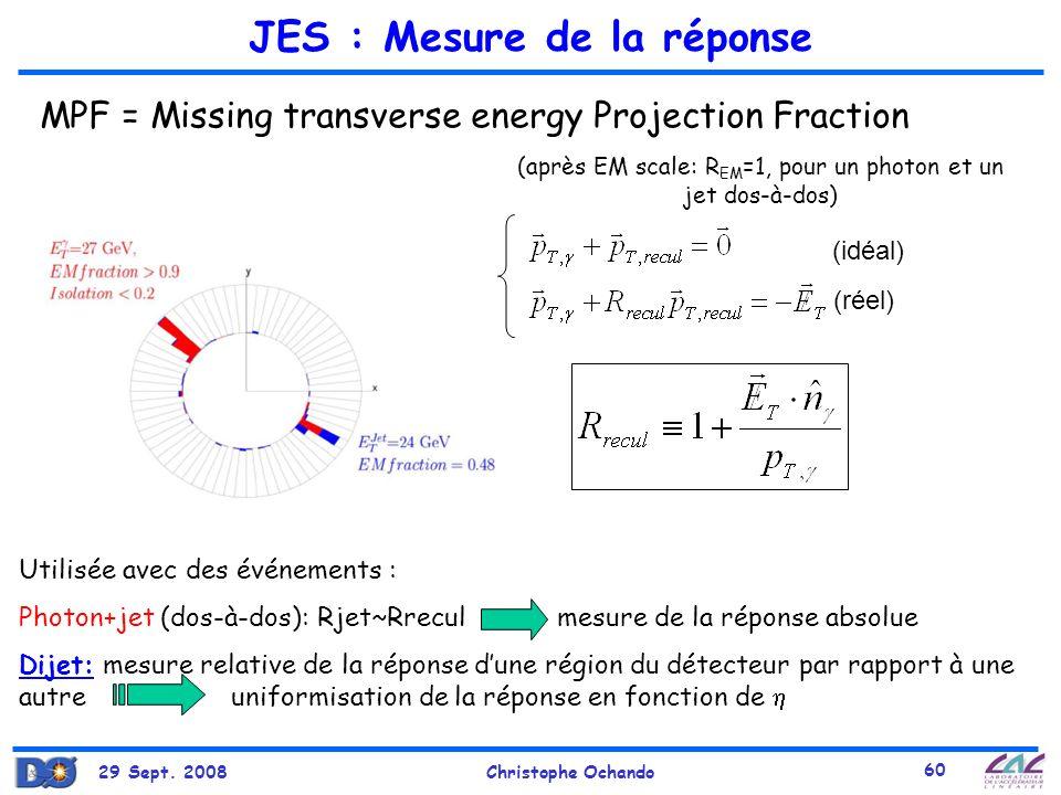 29 Sept. 2008Christophe Ochando 60 JES : Mesure de la réponse (idéal) (réel) MPF = Missing transverse energy Projection Fraction Utilisée avec des évé