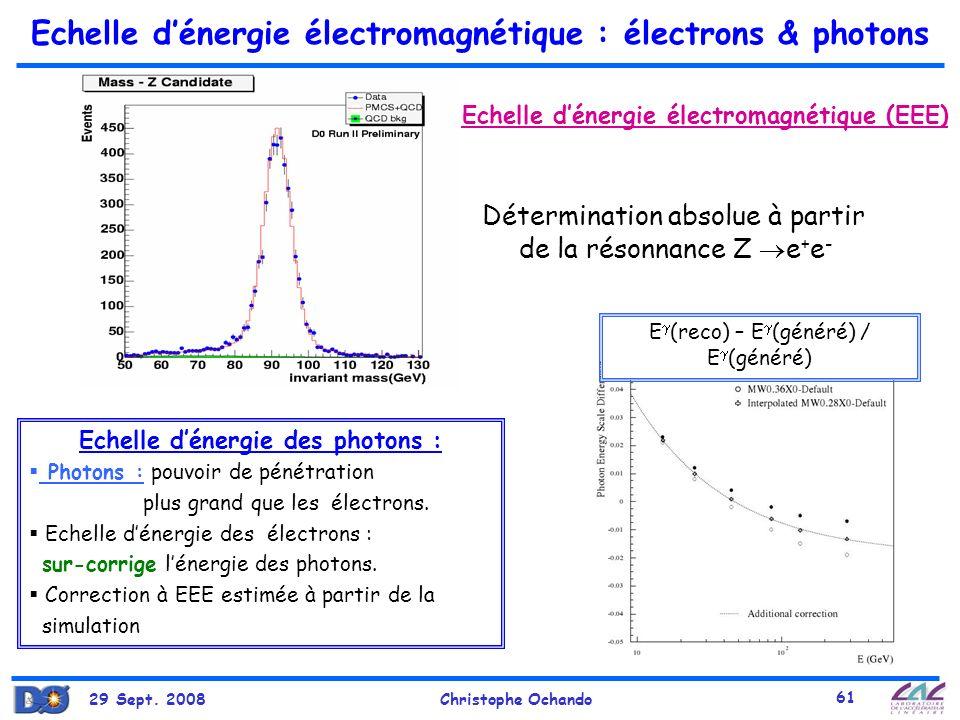 29 Sept. 2008Christophe Ochando 61 Echelle dénergie électromagnétique : électrons & photons Détermination absolue à partir de la résonnance Z e + e -