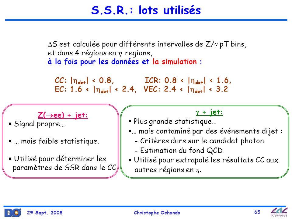 29 Sept. 2008Christophe Ochando 65 S.S.R.: lots utilisés Z( ee) + jet: Signal propre… … mais faible statistique. Utilisé pour déterminer les paramètre
