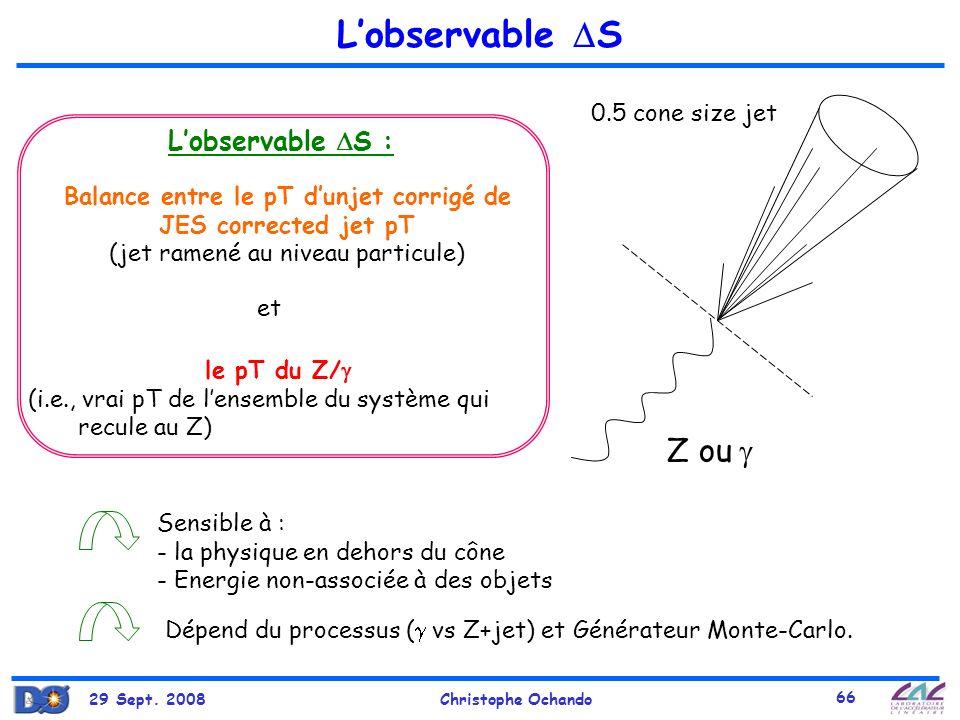 29 Sept. 2008Christophe Ochando 66 Lobservable S Z ou 0.5 cone size jet Lobservable S : Sensible à : - la physique en dehors du cône - Energie non-ass