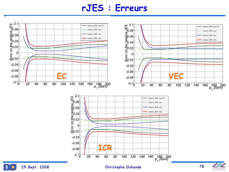 29 Sept. 2008Christophe Ochando 75 rJES : Erreurs ECVEC ICR