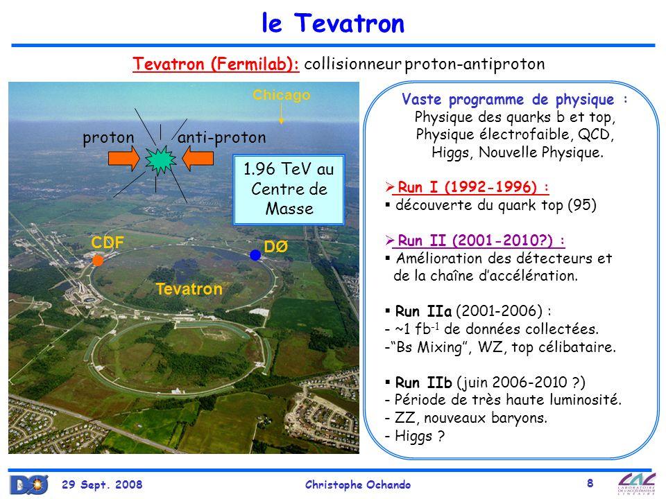 29 Sept. 2008Christophe Ochando 8 le Tevatron Run I (1992-1996) : découverte du quark top (95) Run II (2001-2010?) : Amélioration des détecteurs et de