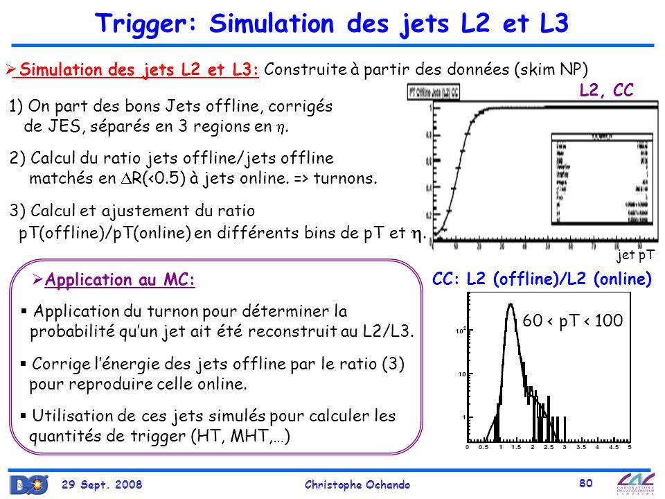 29 Sept. 2008Christophe Ochando 80 jet pT Trigger: Simulation des jets L2 et L3 Simulation des jets L2 et L3: Construite à partir des données (skim NP