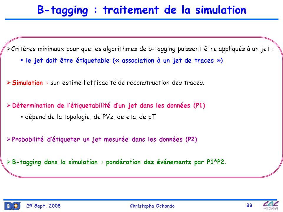 29 Sept. 2008Christophe Ochando 83 B-tagging : traitement de la simulation Critères minimaux pour que les algorithmes de b-tagging puissent être appli