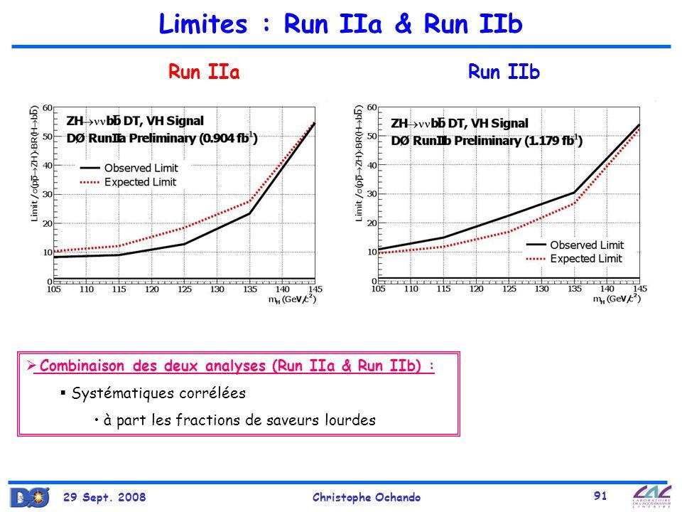 29 Sept. 2008Christophe Ochando 91 Limites : Run IIa & Run IIb Run IIaRun IIb Combinaison des deux analyses (Run IIa & Run IIb) : Systématiques corrél