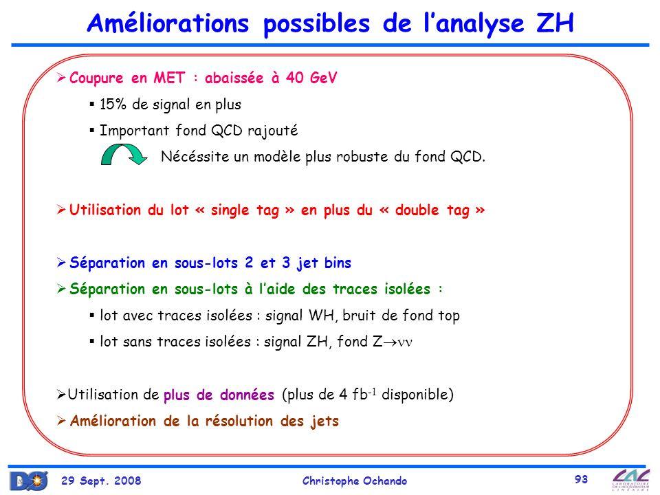 29 Sept. 2008Christophe Ochando 93 Améliorations possibles de lanalyse ZH Coupure en MET : abaissée à 40 GeV 15% de signal en plus Important fond QCD