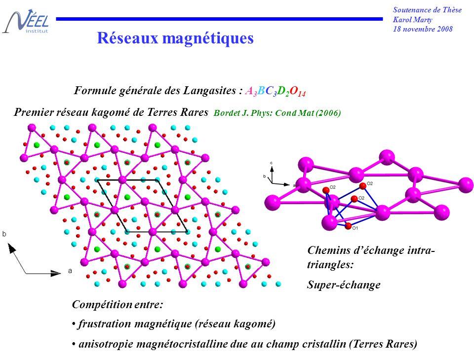 Soutenance de Thèse Karol Marty 18 novembre 2008 Réseaux magnétiques Formule générale des Langasites : A 3 BC 3 D 2 O 14 Premier réseau kagomé de Terres Rares Bordet J.