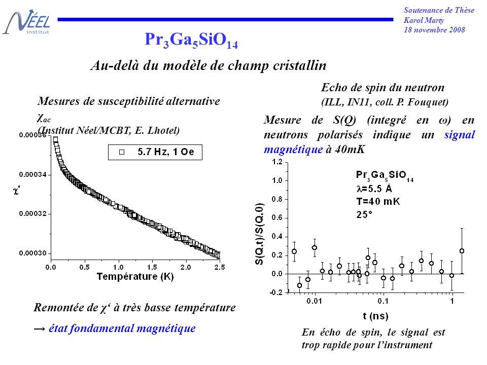 Soutenance de Thèse Karol Marty 18 novembre 2008 Pr 3 Ga 5 SiO 14 Echo de spin du neutron (ILL, IN11, coll.