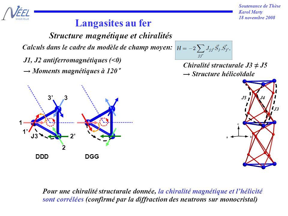 Soutenance de Thèse Karol Marty 18 novembre 2008 1 2 3 Langasites au fer 1 3 DDDDGG 2J3 Pour une chiralité structurale donnée, la chiralité magnétique et lhélicité sont corrélées (confirmé par la diffraction des neutrons sur monocristal) Calculs dans le cadre du modèle de champ moyen: Structure magnétique et chiralités J1, J2 antiferromagnétiques (<0) Moments magnétiques à 120° Chiralité structurale J3 J5 Structure hélicoïdale