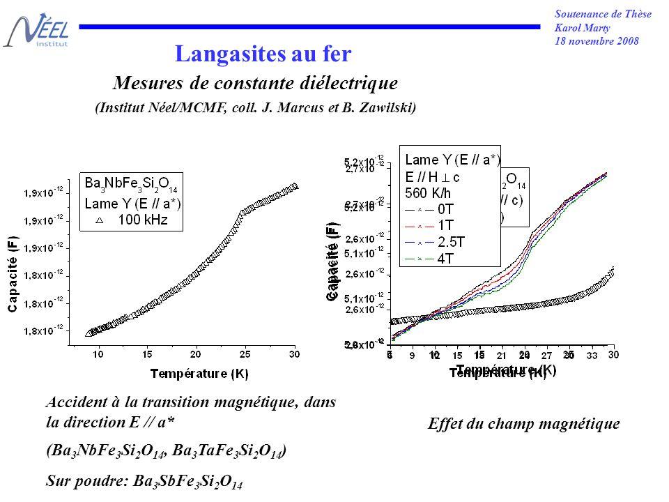 Soutenance de Thèse Karol Marty 18 novembre 2008 Langasites au fer Mesures de constante diélectrique (Institut Néel/MCMF, coll.