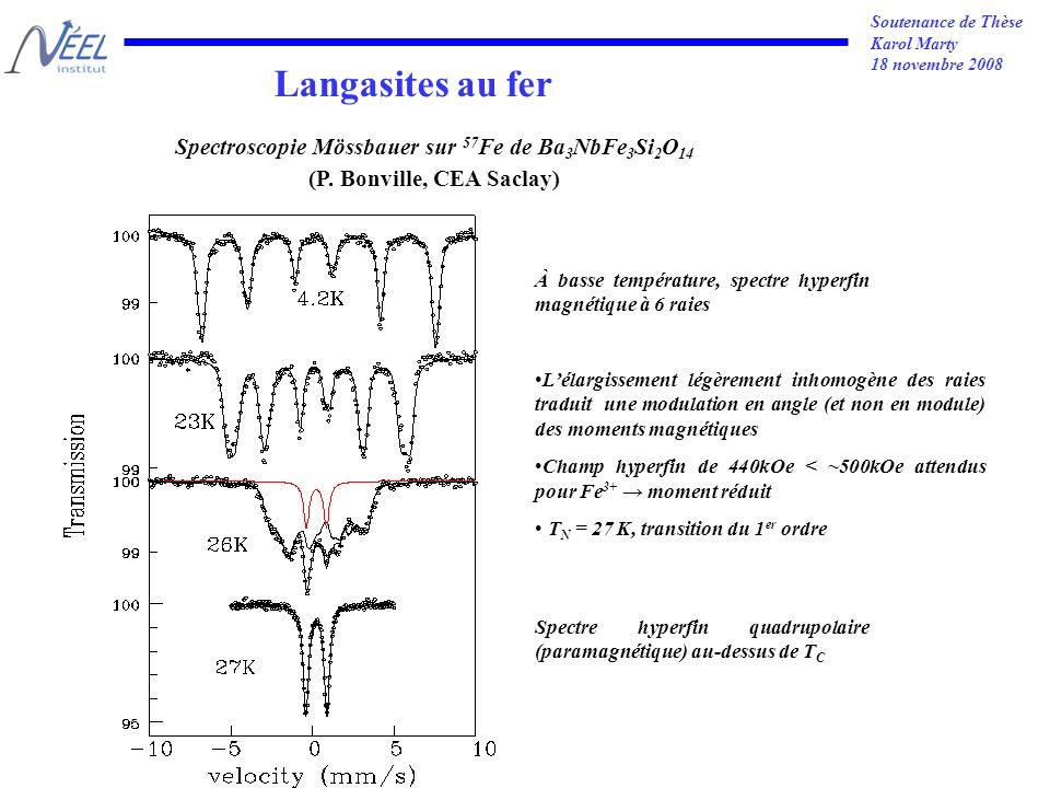 Soutenance de Thèse Karol Marty 18 novembre 2008 Spectroscopie Mössbauer sur 57 Fe de Ba 3 NbFe 3 Si 2 O 14 (P.