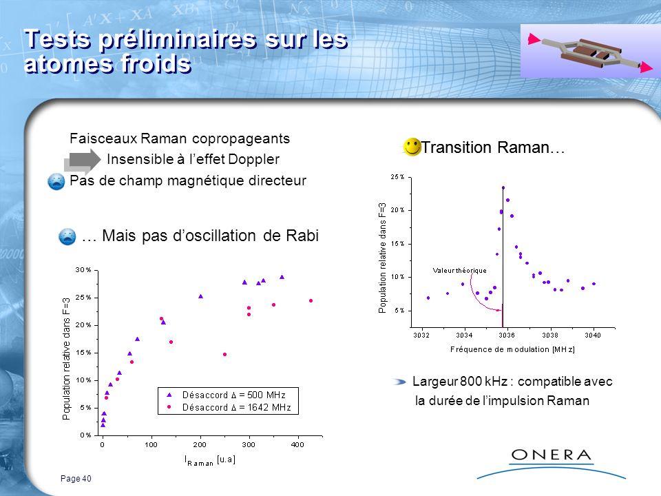 Page 40 Tests préliminaires sur les atomes froids Faisceaux Raman copropageants Insensible à leffet Doppler Pas de champ magnétique directeur Transition Raman… … Mais pas doscillation de Rabi Transition Raman Largeur 800 kHz : compatible avec la durée de limpulsion Raman