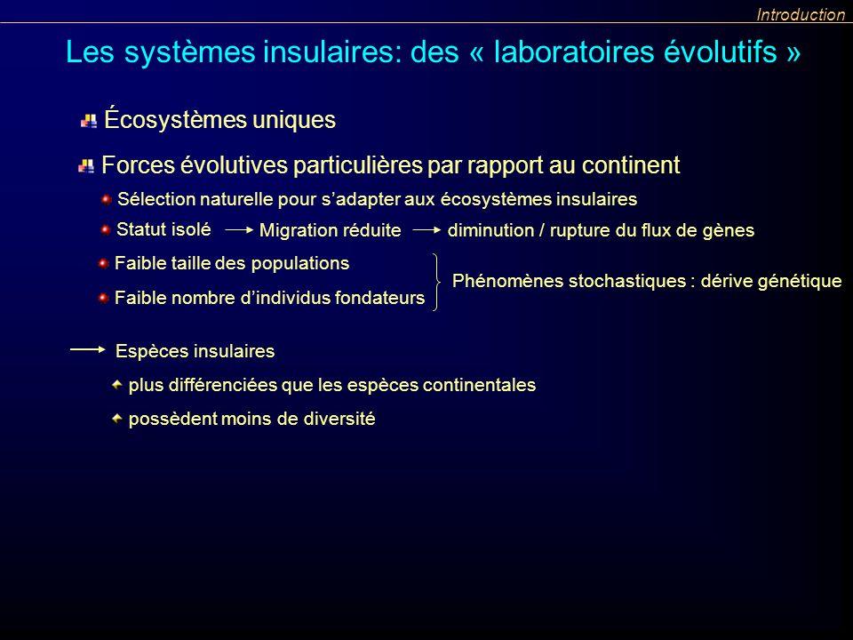 Espèces insulaires plus différenciées que les espèces continentales possèdent moins de diversité Introduction Les systèmes insulaires: des « laboratoi