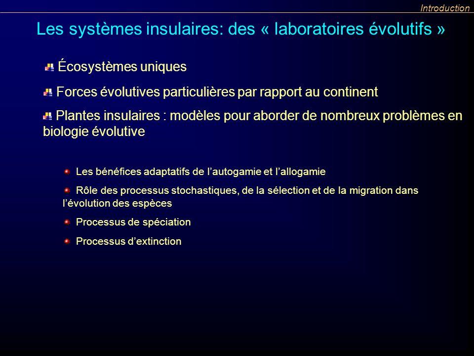 Plantes insulaires : modèles pour aborder de nombreux problèmes en biologie évolutive Les bénéfices adaptatifs de lautogamie et lallogamie Rôle des pr