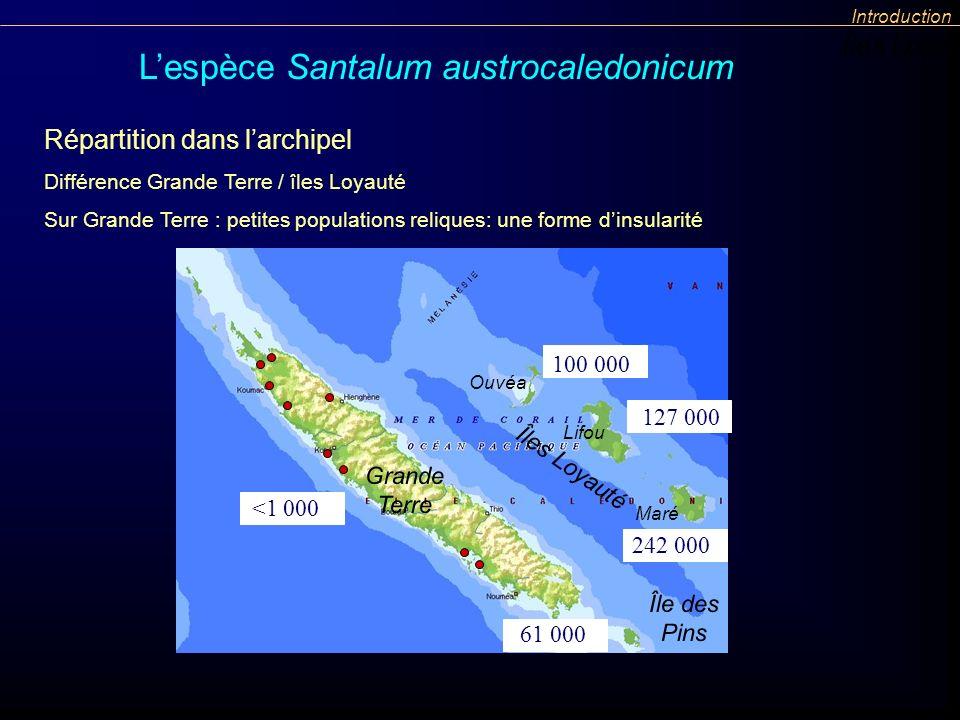 Répartition dans larchipel Différence Grande Terre / îles Loyauté Sur Grande Terre : petites populations reliques: une forme dinsularité Îles Loyauté