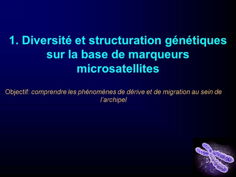 1. Diversité et structuration génétiques sur la base de marqueurs microsatellites Objectif: comprendre les phénomènes de dérive et de migration au sei