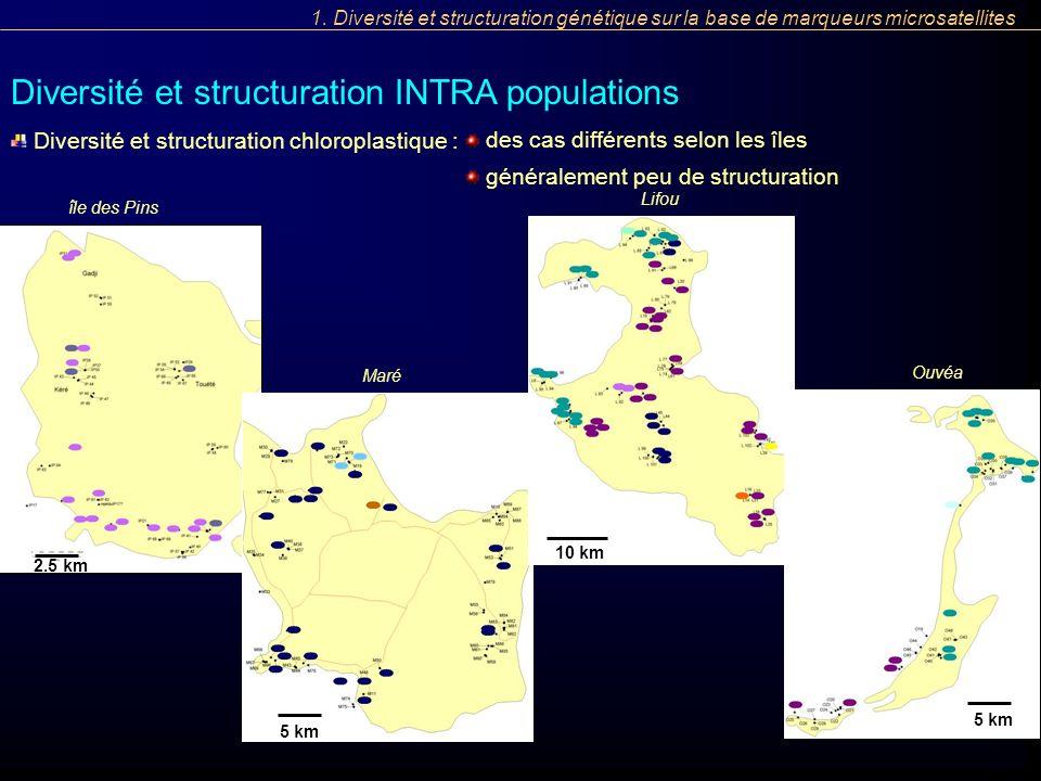 1. Diversité et structuration génétique sur la base de marqueurs microsatellites Diversité et structuration INTRA populations Diversité et structurati