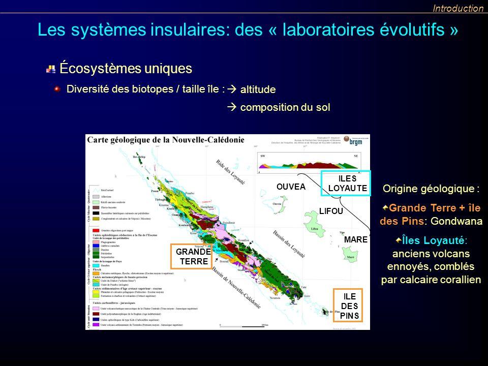 Introduction Les systèmes insulaires: des « laboratoires évolutifs » GRANDE TERRE OUVEA LIFOU MARE ILE DES PINS ILES LOYAUTE Origine géologique : Gran