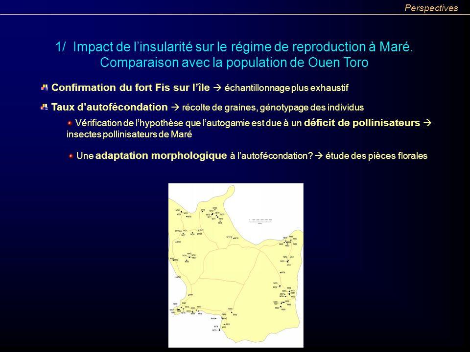 Confirmation du fort Fis sur lîle échantillonnage plus exhaustif 1/ Impact de linsularité sur le régime de reproduction à Maré. Comparaison avec la po
