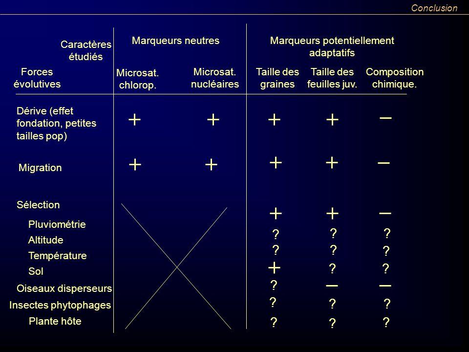 Conclusion Forces évolutives Caractères étudiés Marqueurs neutresMarqueurs potentiellement adaptatifs Microsat. nucléaires Microsat. chlorop. Taille d