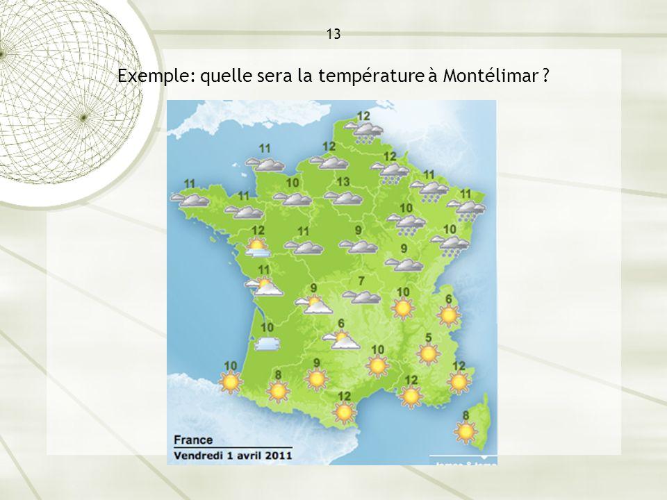 13 Exemple: quelle sera la température à Montélimar ?