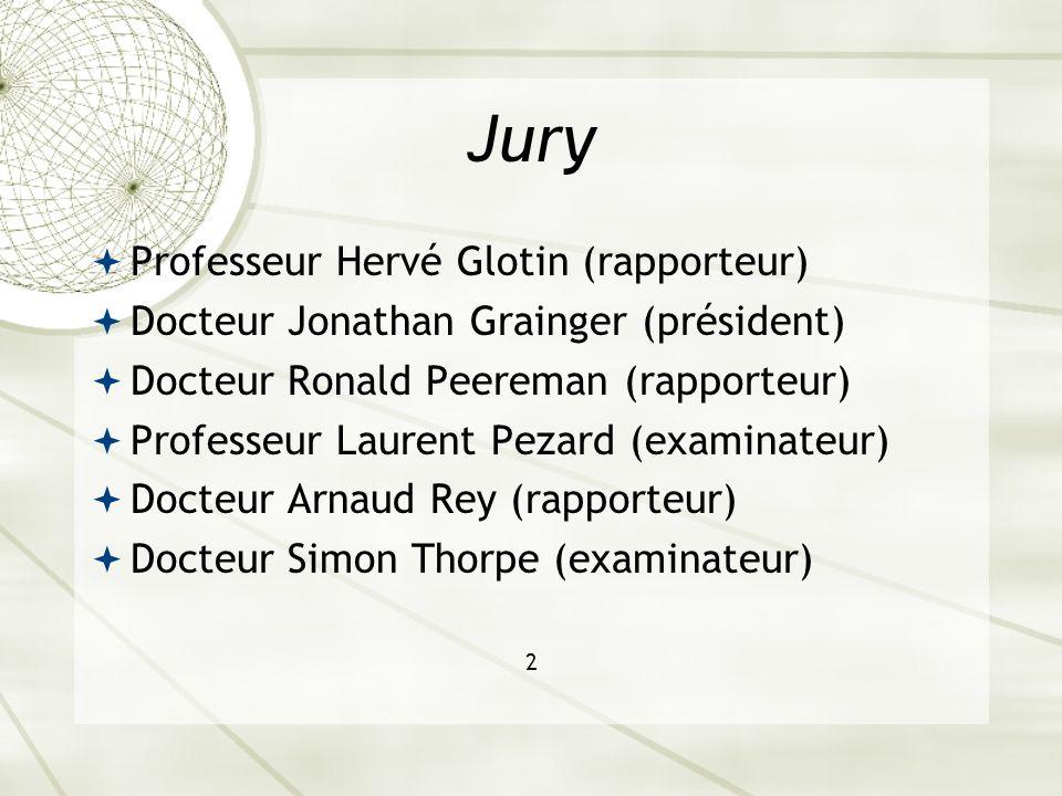 Jury Professeur Hervé Glotin (rapporteur) Docteur Jonathan Grainger (président) Docteur Ronald Peereman (rapporteur) Professeur Laurent Pezard (examin