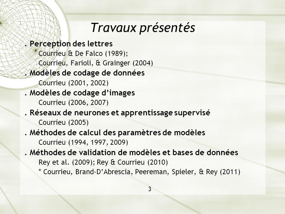 Travaux présentés. Perception des lettres Courrieu & De Falco (1989); Courrieu, Farioli, & Grainger (2004). Modèles de codage de données Courrieu (200