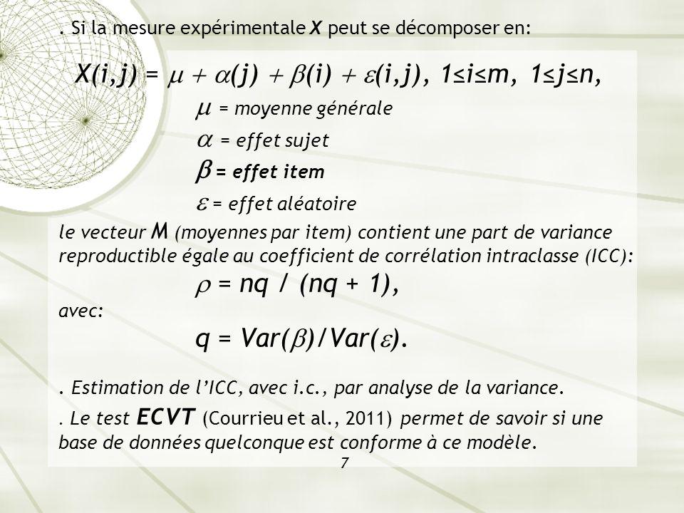 . Si la mesure expérimentale X peut se décomposer en: X(i,j) = (j) (i) (i,j), 1im, 1jn, = moyenne générale = effet sujet = effet item = effet aléatoir