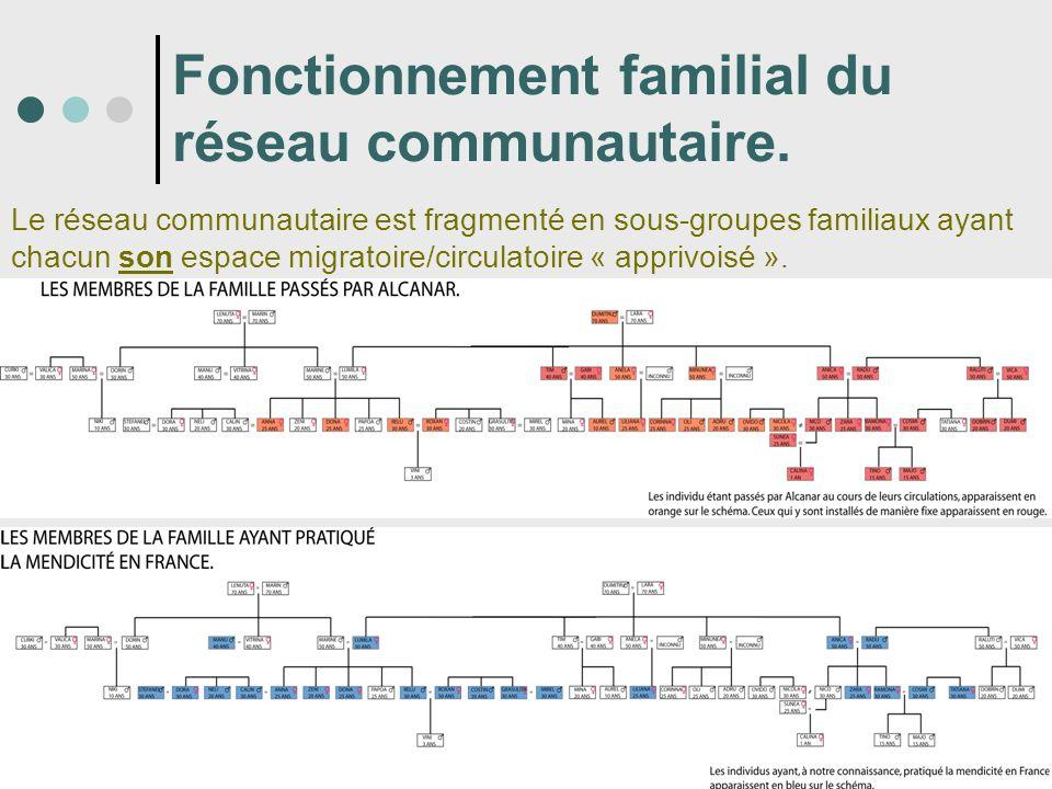 Fonctionnement familial du réseau communautaire. Le réseau communautaire est fragmenté en sous-groupes familiaux ayant chacun son espace migratoire/ci