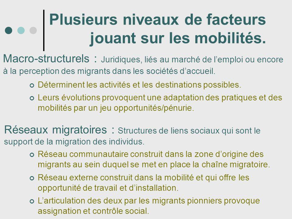 Plusieurs niveaux de facteurs jouant sur les mobilités. Macro-structurels : Juridiques, liés au marché de lemploi ou encore à la perception des migran