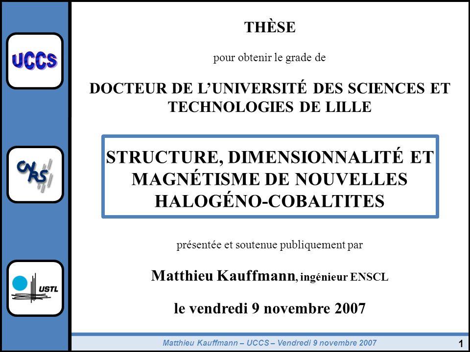 Matthieu Kauffmann – UCCS – Vendredi 9 novembre 2007 32 Structure magnétique de Ba 6 Co 6 ClO 15,5 1) Thermodiffractométrie des neutrons : Diffraction des neutrons (D1B ILL) Apparition dun ordre magnétique à T N (vecteur k=[001/2]) Moments magnétiques orientés selon c (00l) = 0 1 (1) + 1 2 (1) + 1 3 (1) + 0 4 (1) + 1 5 (2) + 1 6 (2) 2) Théorie des groupes : Modèles de structure magnétique compatibles avec le groupe despace, le vecteur propagation et les positions atomiques des atomes de cobalt 1 – Rappels - empilement de couches compactes -Nature chimique des couches 2 – Familles n=4 et n=3 - Blocs élémentaires + interface - synthèses des poudres - valence + modèles de charges 3 – Propriétés physiques - configuration électronique - nature des couplages - contrôle de létat de spin - influence de linterface 4 – Conclusions et perspectives Décomposition de la IR