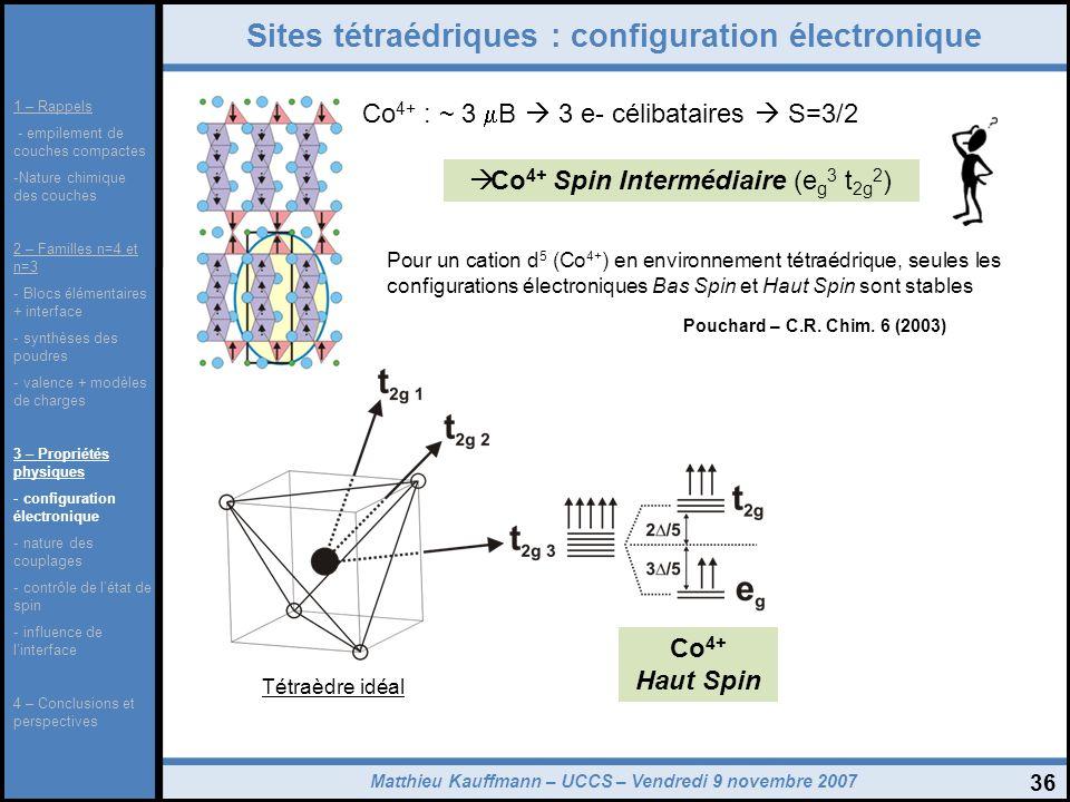 Matthieu Kauffmann – UCCS – Vendredi 9 novembre 2007 36 Sites tétraédriques : configuration électronique Co 4+ : ~ 3 B 3 e- célibataires S=3/2 Co 4+ S