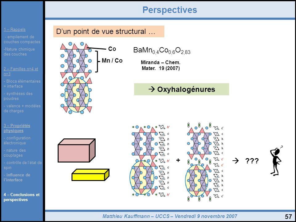 Matthieu Kauffmann – UCCS – Vendredi 9 novembre 2007 57 Perspectives 1 – Rappels - empilement de couches compactes -Nature chimique des couches 2 – Fa