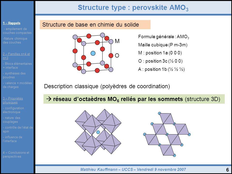 Matthieu Kauffmann – UCCS – Vendredi 9 novembre 2007 7 La famille des perovskites hexagonales Séquence dempilement : (ABC) empilement compact de référence : cfc Atome M entre les couches Réseau doctaèdres reliés par les sommets Structure 3C (ex : BaTiO 3 ) Séquence dempilement : (ABA) empilement compact de référence : hc Atome M entre les couches Réseau doctaèdres reliés par faces Structure 2H (ex : BaCoO 3 ) 1 – Rappels - empilement de couches compactes -Nature chimique des couches 2 – Familles n=4 et n=3 - Blocs élémentaires + interface - synthèses des poudres - valence + modèles de charges 3 – Propriétés physiques - configuration électronique - nature des couplages - contrôle de létat de spin - influence de linterface 4 – Conclusions et perspectives
