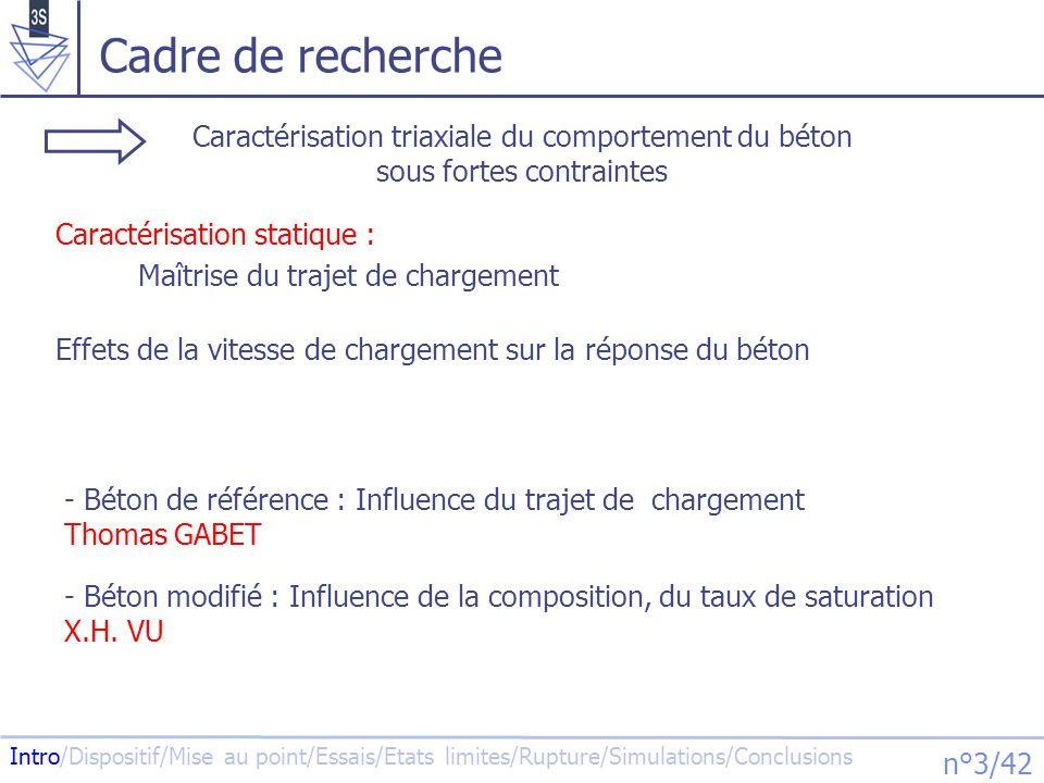 Intro/Dispositif/Mise au point/Essais/Etats limites/Rupture/Simulations/Conclusions n°4/42 Plan 1.