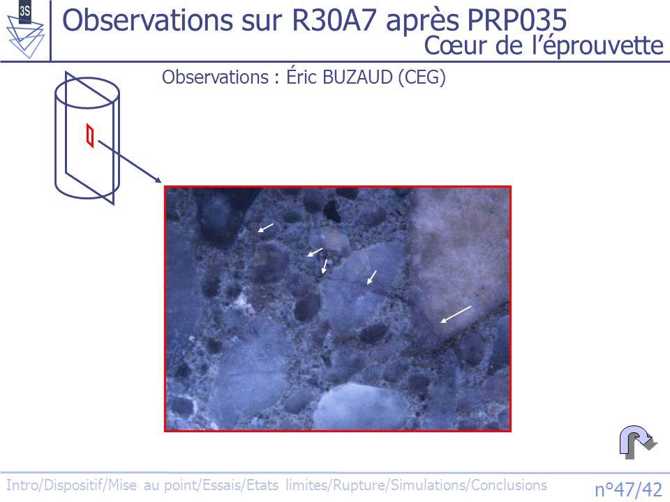 Intro/Dispositif/Mise au point/Essais/Etats limites/Rupture/Simulations/Conclusions n°48/42 Observations sur MB50 après essai œdo Cœur de léprouvette 5 mm Observations : Éric BUZAUD (CEG)
