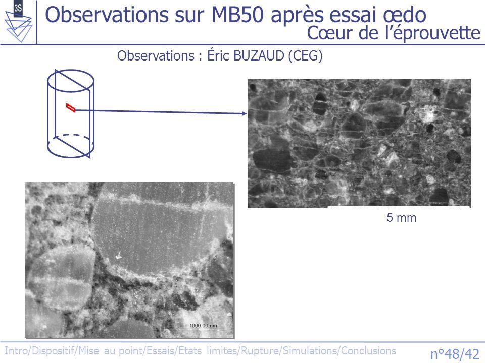 Intro/Dispositif/Mise au point/Essais/Etats limites/Rupture/Simulations/Conclusions n°48/42 Observations sur MB50 après essai œdo Cœur de léprouvette
