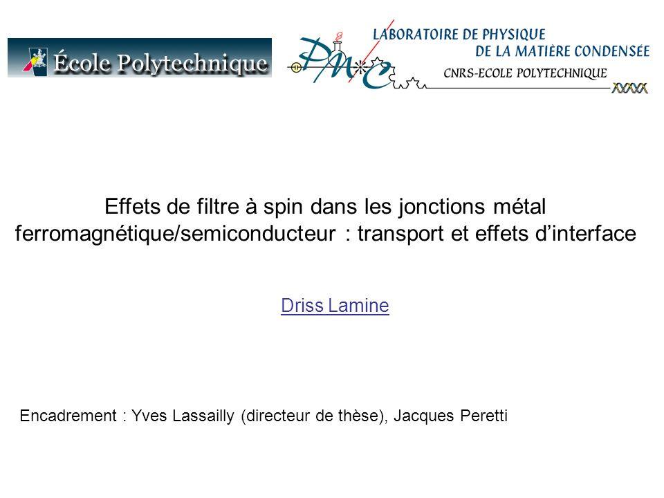 Effets de filtre à spin dans les jonctions métal ferromagnétique/semiconducteur : transport et effets dinterface Encadrement : Yves Lassailly (directeur de thèse), Jacques Peretti Driss Lamine