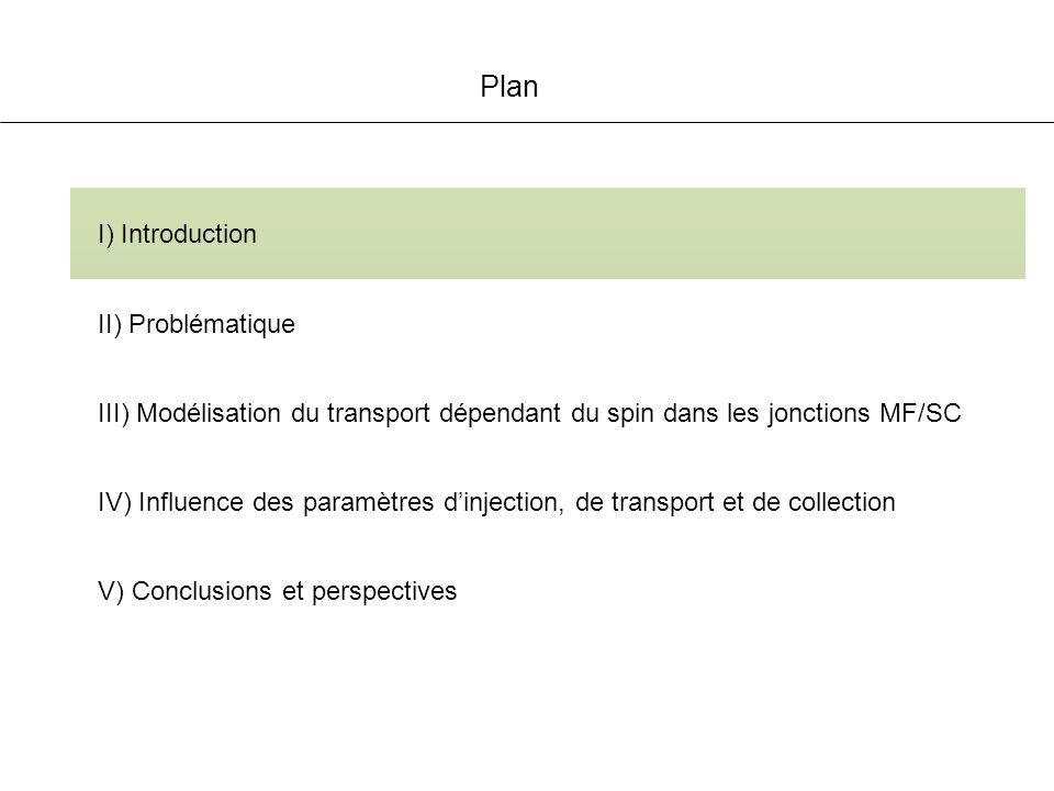 Etude de la transmission (P 0 = 0) Partie III Modélisation du transport T : M ou M E 0 (eV) T