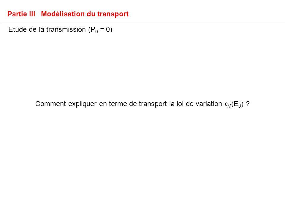 Comment expliquer en terme de transport la loi de variation M (E 0 ) .