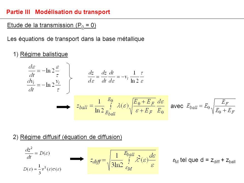 Les équations de transport dans la base métallique 1) Régime balistique 2) Régime diffusif (équation de diffusion) avec Partie III Modélisation du transport Etude de la transmission (P 0 = 0) M tel que d = z diff + z ball