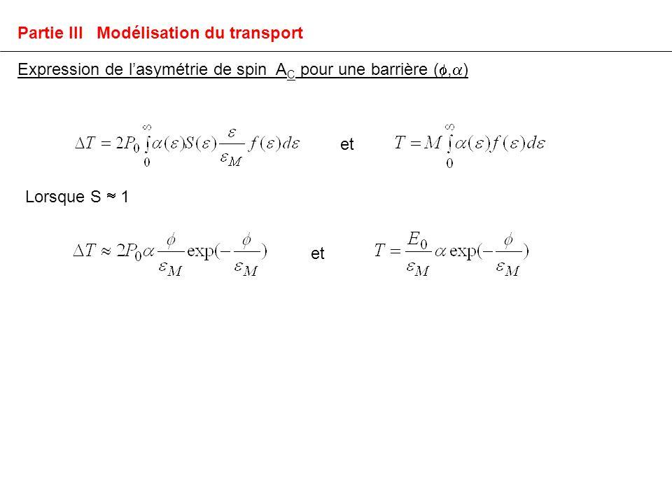 Expression de lasymétrie de spin A C pour une barrière (, ) Lorsque S 1 et Partie III Modélisation du transport
