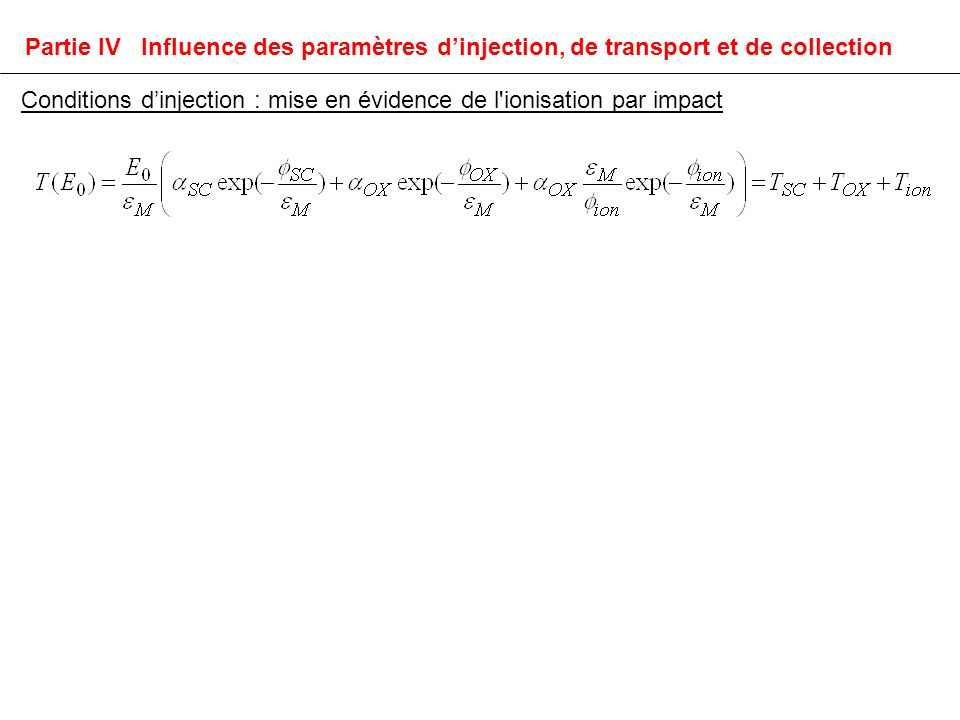 Conditions dinjection : mise en évidence de l ionisation par impact Partie IV Influence des paramètres dinjection, de transport et de collection