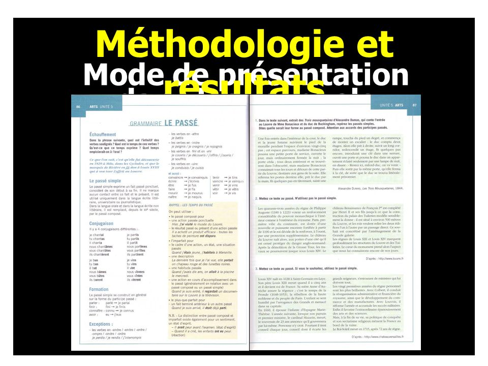 Mode de présentation dans les manuels Méthodologie et résultats