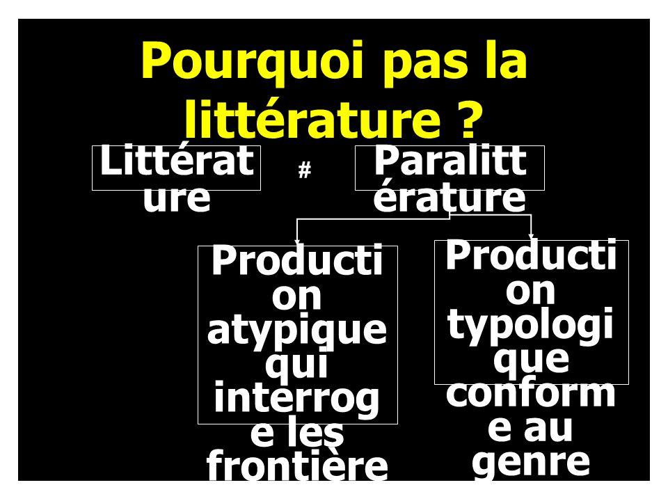 Littérat ure Producti on typologi que conform e au genre Pourquoi pas la littérature .