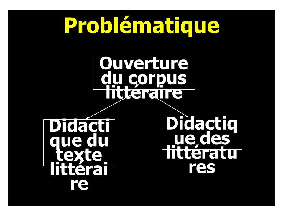 Ouverture du corpus littéraire Didacti que du texte littérai re Problématique Didactiq ue des littératu res
