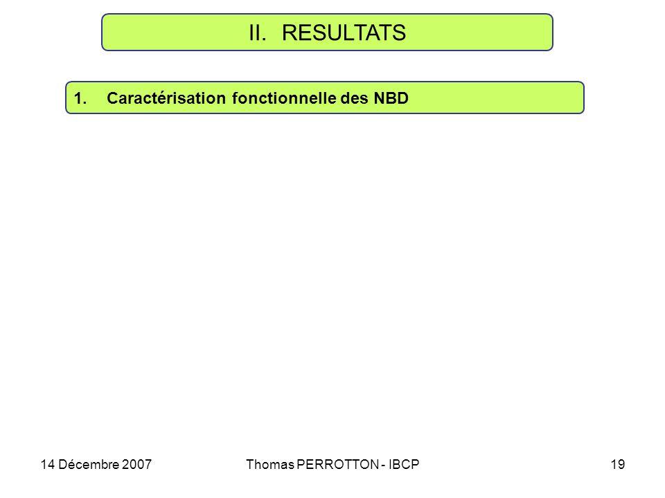 14 Décembre 2007Thomas PERROTTON - IBCP19 II.RESULTATS 1.Caractérisation fonctionnelle des NBD
