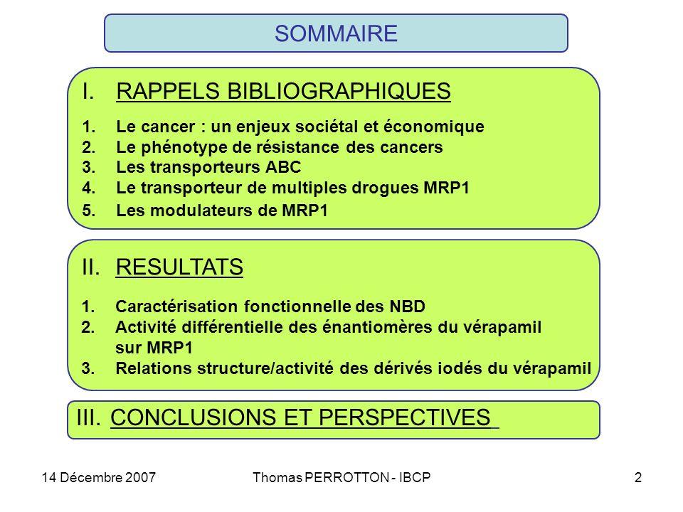 14 Décembre 2007Thomas PERROTTON - IBCP2 SOMMAIRE II.RESULTATS 1.Caractérisation fonctionnelle des NBD 2.Activité différentielle des énantiomères du vérapamil sur MRP1 3.Relations structure/activité des dérivés iodés du vérapamil III.CONCLUSIONS ET PERSPECTIVES I.RAPPELS BIBLIOGRAPHIQUES 1.Le cancer : un enjeux sociétal et économique 2.Le phénotype de résistance des cancers 3.Les transporteurs ABC 4.Le transporteur de multiples drogues MRP1 5.Les modulateurs de MRP1